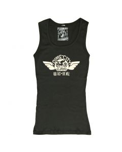 """Dime City Cycles """"Wings"""" Graphic Ladies' Ribbed Tank - Black"""